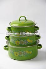 16 18 20CM 3pcs set bright color enamel casserole south africa cast iron cookware
