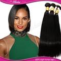 Noir& soyeux cheveux humains vierges brésiliennes 100 échantillons cheveux raides