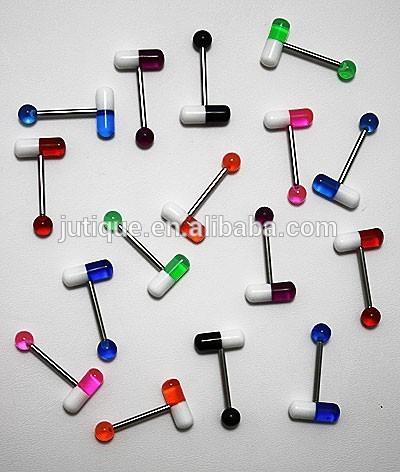 Shaped Tongue Rings 14g Acrylic Pills Tongue Ring