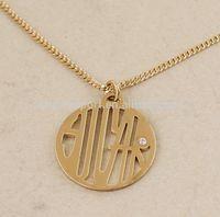 Fashion Smooth Alloy Metalic Monogram Pendant Necklace