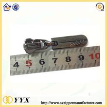 bright gun metal black #5 zipper pull engraved logo
