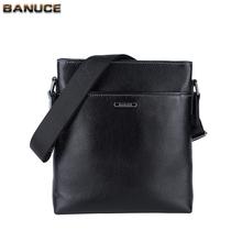 BANUCE Business Black Solid messenger bag Mens Cow Leather Shoulder bag