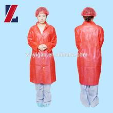 red disposalbe Medical nonwoven/Cnonwoven /Plastic Visitor Coat