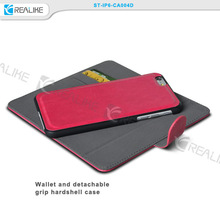 2015 mobile phone accessory leather wallet detachable stand case for iphone 6