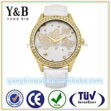 Plating Rose Gold Diamond Desgin luxury Leather wrist Watch for Ladies
