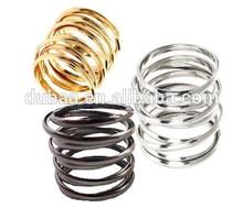 U Pick sPunk Goth Silver Gold Tone Spiral Spring Ring Mirror Face Fashion Luxurious Rhinestone Pentagram LOVE Spiral Spring