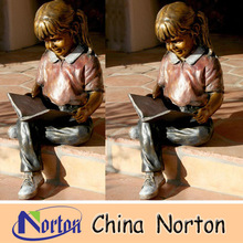 reading books girl outdoor bronze children statue for sale NTBH-C394