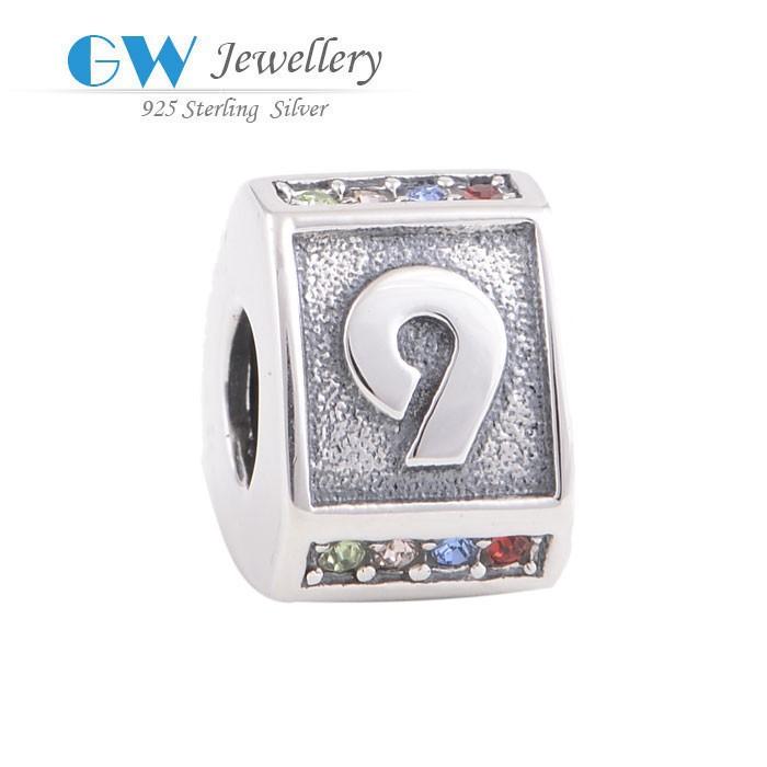 925 ayar gümüş kolye cazibe takı alfabe harfinden boncuk