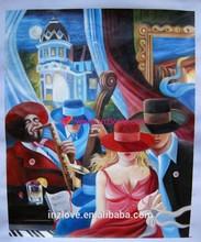upset bar woman oil painting handmade
