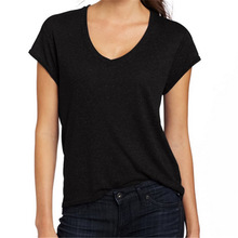 hot sales v neck cotton cheap t shirt for ladies