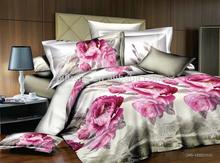 3d beautiful girls pink natural color 100% cotton floral sheet bedding jacquard bed set