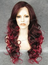 Celebrity-wig Comfortable cute hair highlight red wig synthetic lace front wig hair