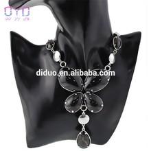 Butterfly shape necklace, black acrylic butterfly necklace