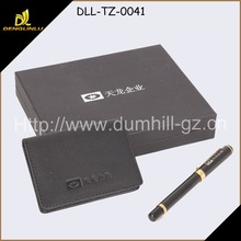 Business Card Holder and Pen Leather Set For Corporate Gift