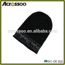 Fashion black acrylic long knit hat with iron image, customize gliter knit beanie hat