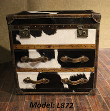 Decorative cow leather Wooden Trunk L872