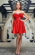 EF040 Fashion New Sweetheart Crystal Beading Ruffle Homecoming Gown Lace up Back Red Short Mini Cocktail Dress