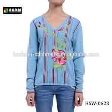 V-Neck Intarsia Wool Cashmere Women's Knitwear