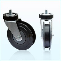 RH-STC5E-02 high quality TPU casters supplier 5'' double elevator wheels for Shopping Cart Bilateral-piece