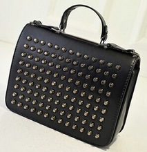 2015 new fashion england style hard tote bags pure colour rivets studded shoulder bags custom satchel bags