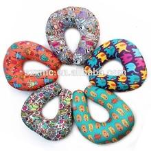 wholesale microbead printed pillow U shape pillow lycra travel spandex pillow