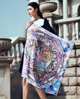 Lady's fashion silk print silk scarf bound