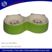 pet water food feeder double shaped cat travel bowl ,double ceramic pet bowl with cat face design