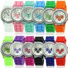New Geneva Fashion Crystal Jelly watch Gel Silicon Girl Women's Quartz Wrist Watch