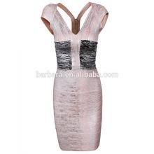 2015 fabulous V-neck color block sleeveless foil printed bandage dress for party dinner wedding meeting