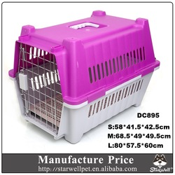 Low MOQ large sized plastic handle pet flight carrier with wheels