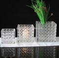 florero de cristal cuadrado