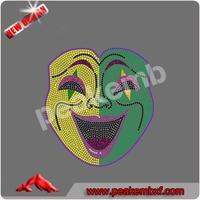 2015 ho sale Mardi Gras Mask iron on rhinestone transfers peronalised popular hang