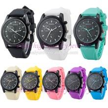 China brand factory price geneva watches men stainless steel quartz silicone band
