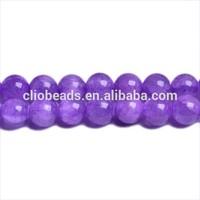 Purple Dyed Semi Transparent Mashan Jade Round Beads