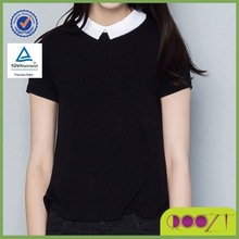 summer ladies clothes 100% cotton short sleeve school blouses fashion design woman t shirt