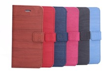 Wood skin PU leather wallet case for iphone 6 / 6 plus