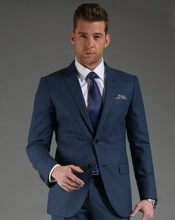 2014 Korean style small grid office100% Wool Dark bule two buttons tuxedos for men