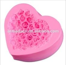 3d rosa diseño de amor y hecho a mano de diseño de silicona moldes de vela