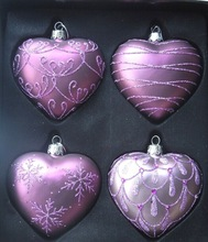 chriatmas glass craft ornaments,diy clear glass craft ornaments,delicate heart shaped christmas decorations