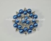 2015Wholesale new desigh cheap funny fashion bulk brooch,Blue Sliver Pearl Broach