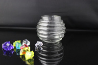 200ml ribbed cute glass tea light candle holder candle jar for home decoration