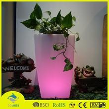 Cheap plastic outdoor rechargeable led pot flower