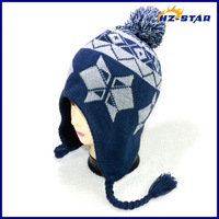 HZM-14109004 fashion pompom hats wholesale protection women ear warmer knitted hat