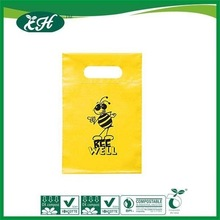 promotional custom plastic shopping pure yellow die cut bag