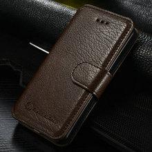 For Samsung S5 Genuine Leather Wallet Flip Case Cover Black Business/Bank Card Holder