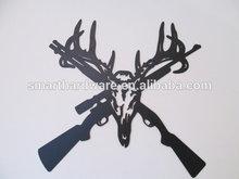 Hunter theme GUN with skull metal wall decoration laser cut metal wall art