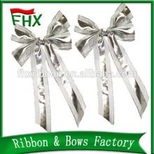 wholesale christmas decoration silver ribbon bow