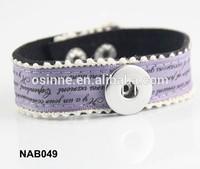 Stock China alibaba personalized DIY charm snap Leather Bracelet NAB049