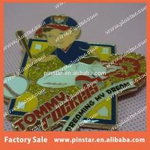 China wholesale 2015 hot sale high quality metal custom baseball badge pin for children/ badge maker in China