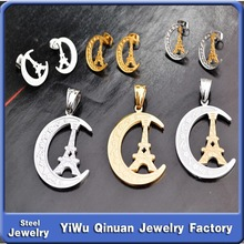 2015 New design beautiful shining crescent moon&Eiffel Tower jewelry set for wholesale factory price customize available